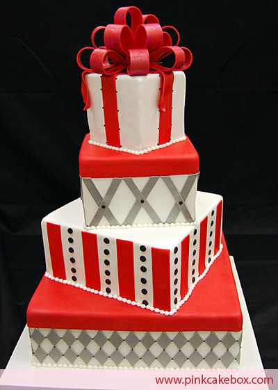 Fun red and silver wedding cake shaped as gift boxes created by Pink Cake
