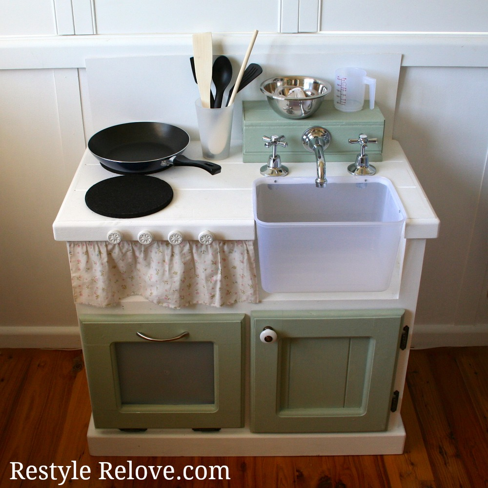 Play Kitchen From Old Furniture Restyle Relove Diy Kids Wooden Kitchen