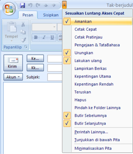 Quick Access Toolbar Outlook 2007