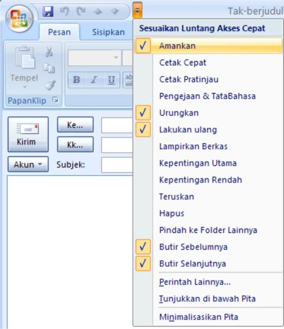 Quick Access Toolbar Outlook 2007