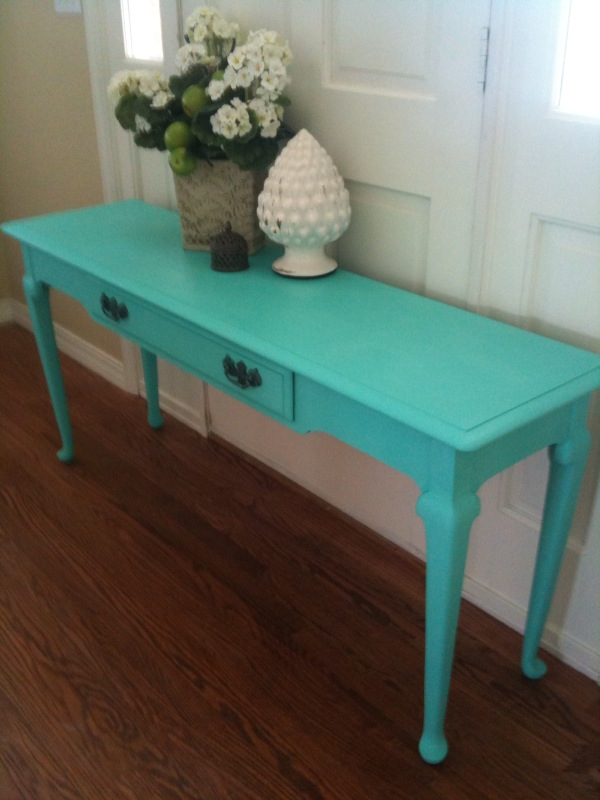 Reclamation Designs Console Table In Sante Fe Turquoise