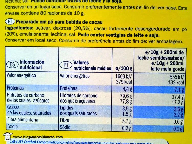 Valores nutricionales del cacao soluble Goody Cao de Lidl.