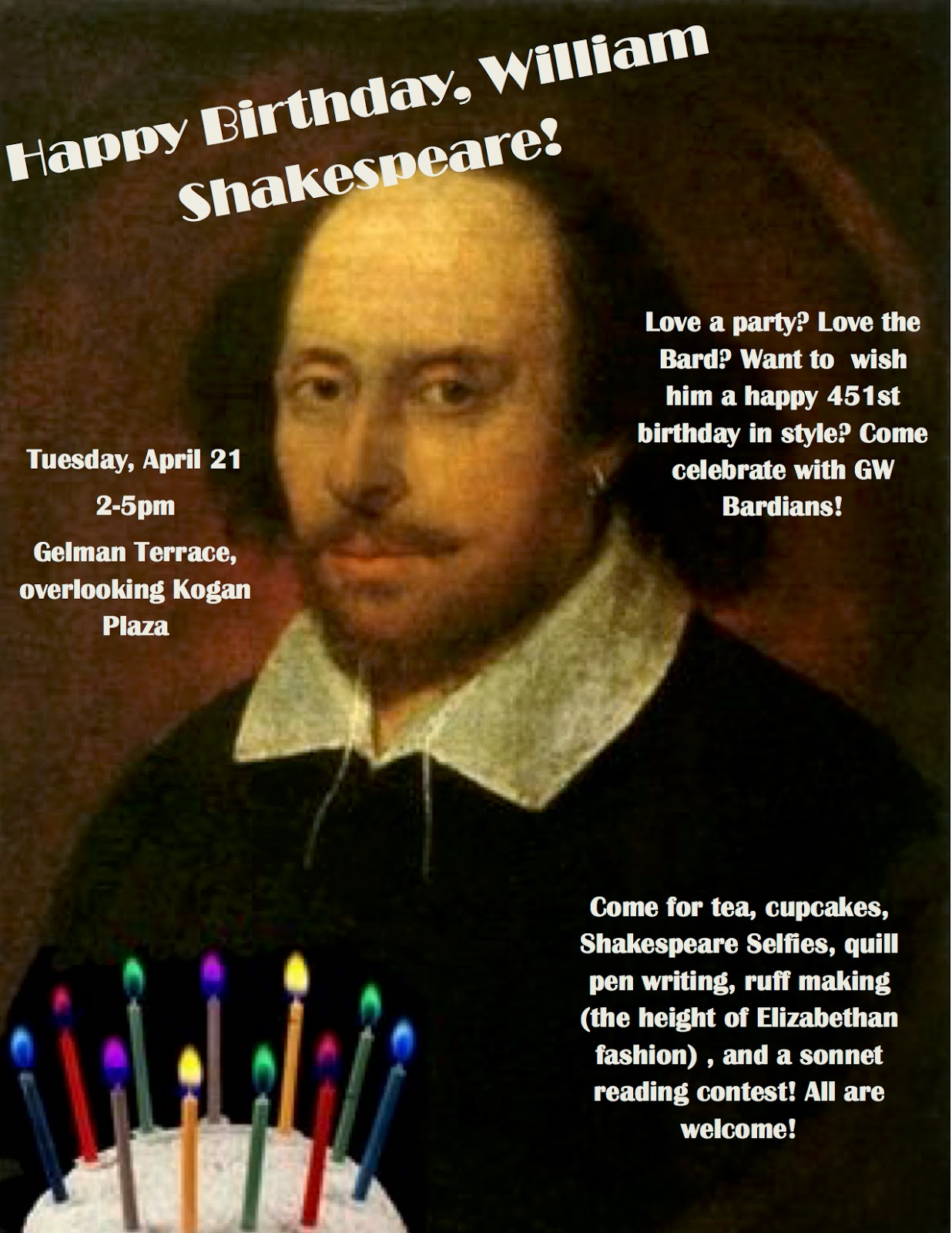 Shakespeare's Birthday 2015 GW Bardians Poster