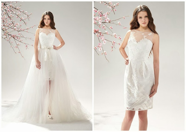 Lace Overlay Knee-length Skirt with Tull Detachable Train 2 In 1 Wedding Dress