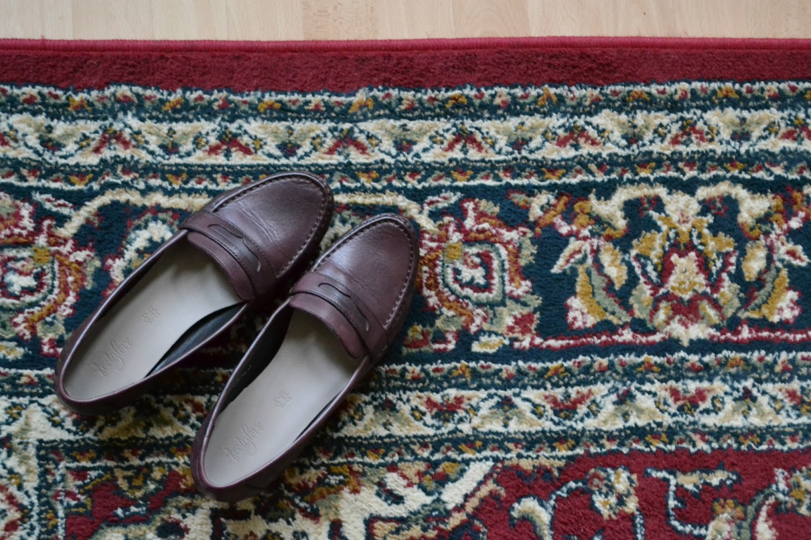 loafers shoes M&S vintage carpet rug