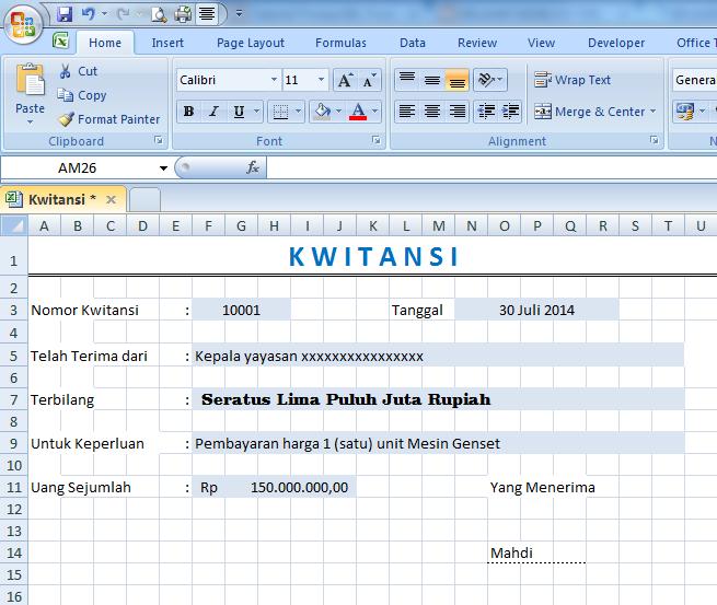 Cara membuat Kwitansi dengan Rumus Ms. Excel