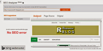 Responsive Blog, hasil SEO Analizer
