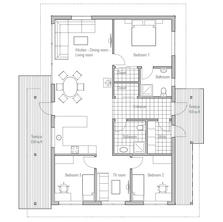Affordable home plans affordable home plan ch32 for Affordable housing floor plans
