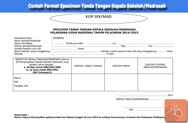 Contoh Format Specimen Tanda Tangan Kepala Sekolah/Madrasah