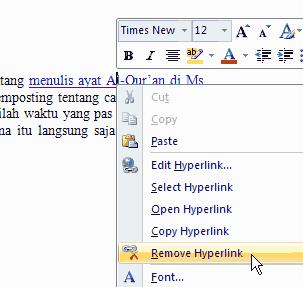 nonaktifkan hyperlink pada teks