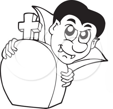 Vampire And Tombstones Coloring Pages For Kids