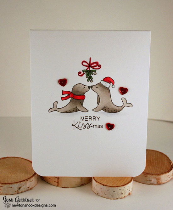 Kissing seals Christmas Card by Jess Gerstner | Holiday Smooches Stamp set by Newton's Nook Designs #newtonsnook