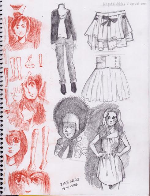 Bocetos con sanguina y lápiz.