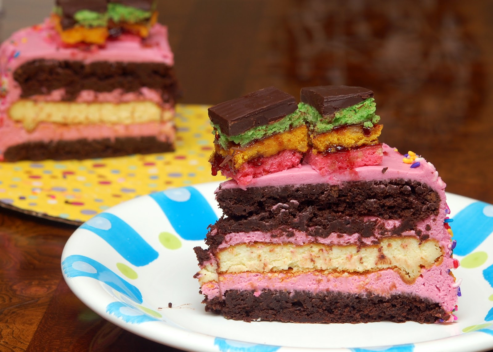 RAINBOW COOKIE FLOURLESS CHOCOLATE CAKE & CHEESECAKE…. FROSTED WITH ...