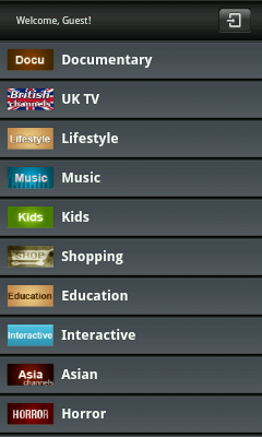 Android TV App - List of TV Channels