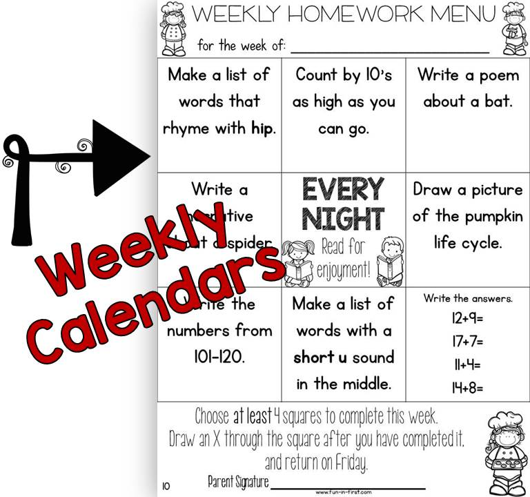 editable homework menus for the entire year fun in first