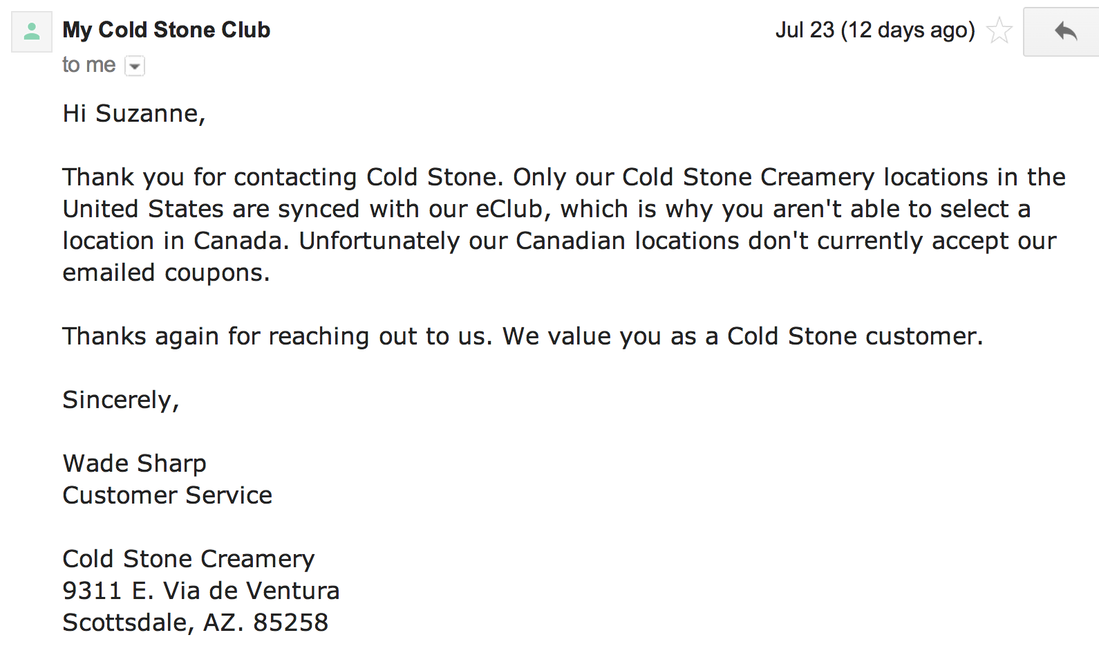 Cold Stone Creamery Ice Cream Coupons only valid in USA