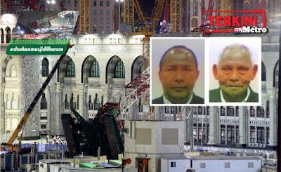 Dua Jemaah Haji Yang Hilang Sah Terkorban Dalam Kejadian Kren Runtuh Di Makkah