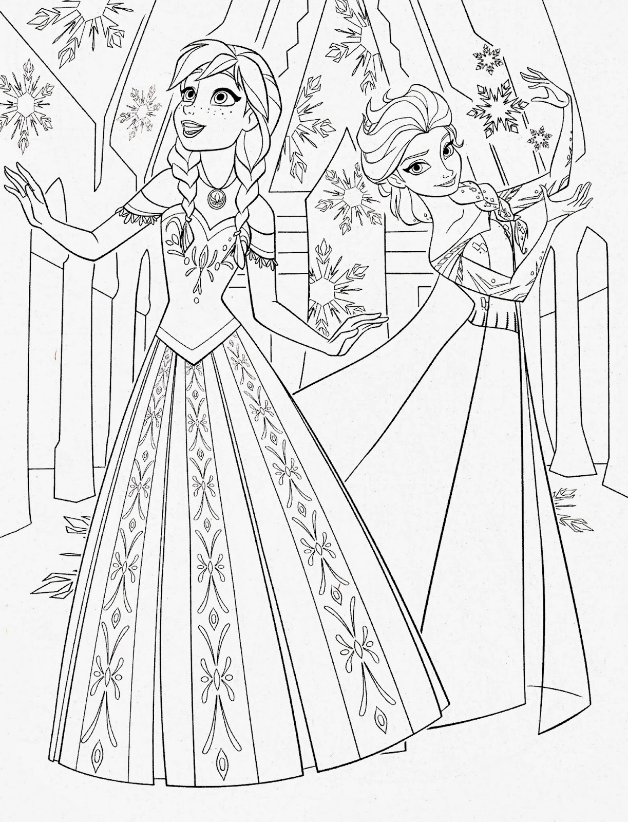 Generic princess coloring pages - Elsa Anna Frozen Filmprincesses Filminspector Com