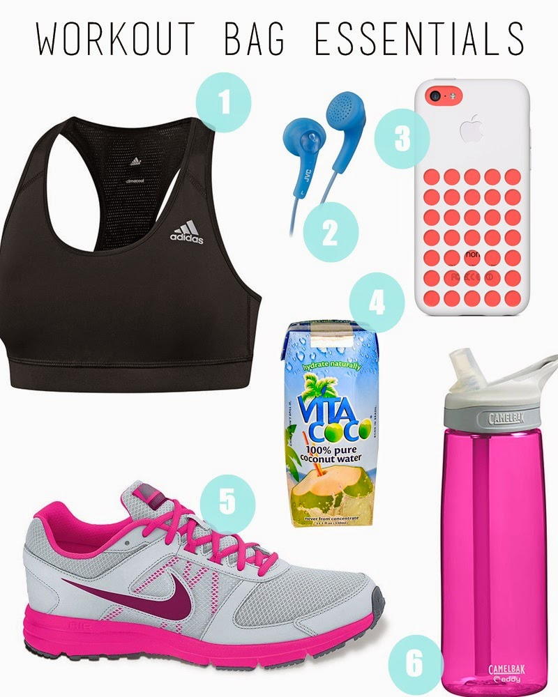 collage of items needed for working out