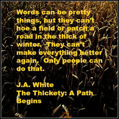 Quote about words and work from The Thickety by J.A. White