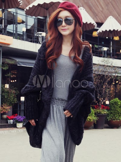 Black Chic Acrylic Women's Sweater Coat