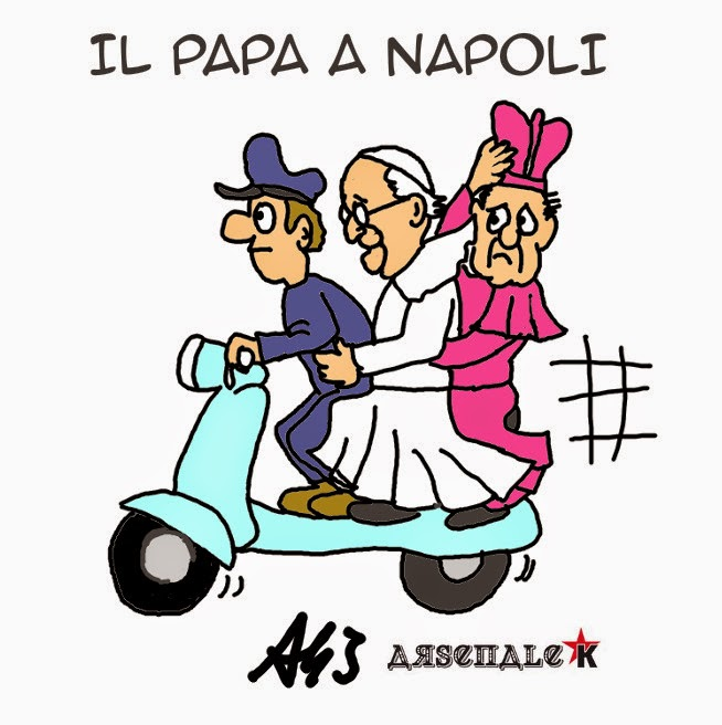 papa francesco, Napoli, motorino, vignetta, satira, umorismo