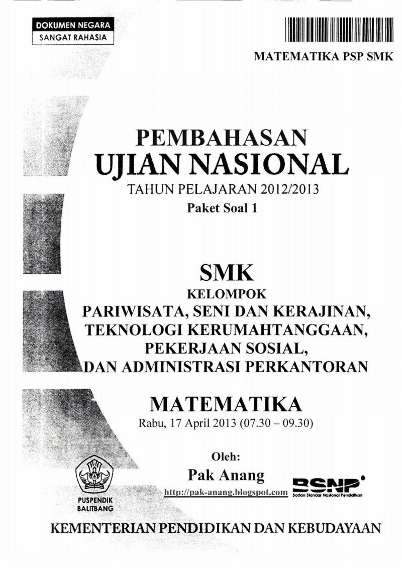 Berbagi Dan Belajar Pembahasan Soal Un Matematika Smk Psp 2013 Trik Superkilat Paket 1