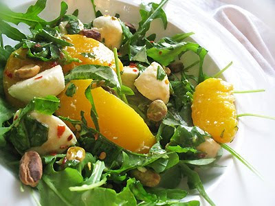 Peach and Bocconcini Salad with Arugula