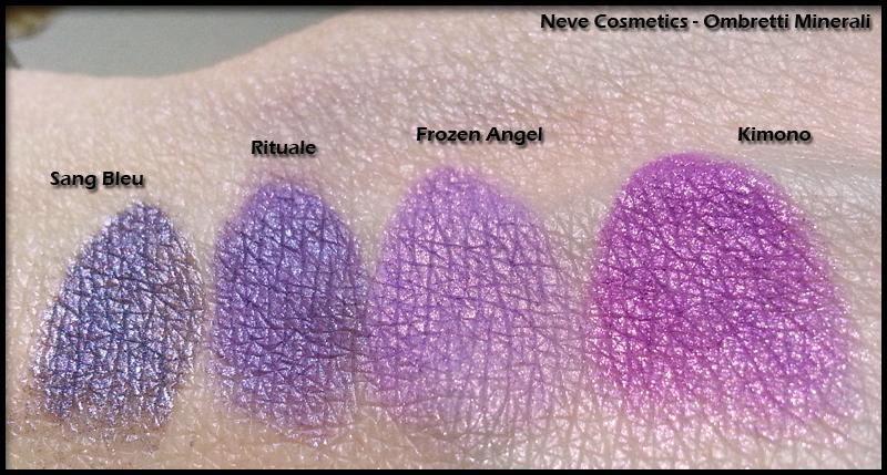 Neve Cosmetics - Ombretti Minerali - Swatch di Sang Bleu, Rituale, Frozen Angel, Kimono