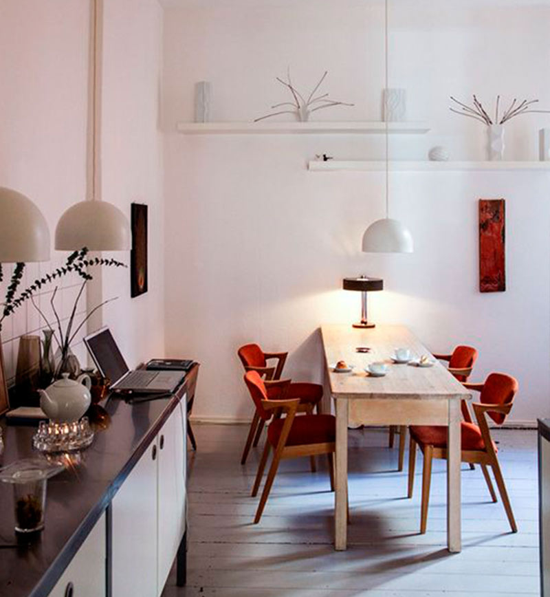 Solução para sala de jantar estreita? mesa estreita! e fica lindo ...