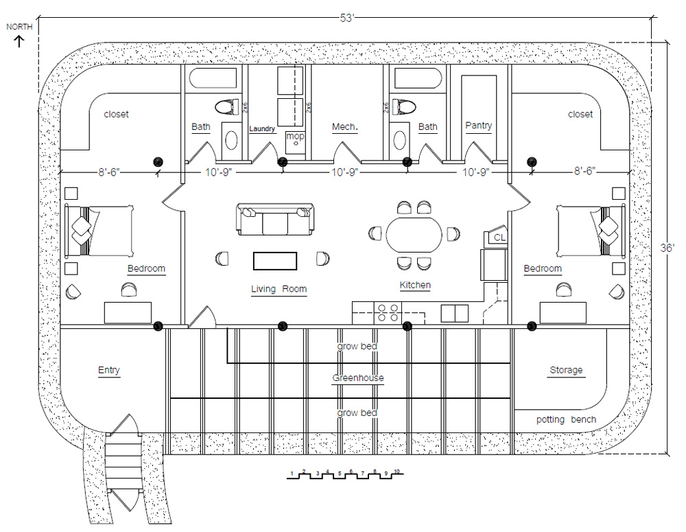 Surviving in the 21st century earthbag building for Earth homes floor plans