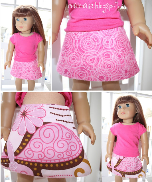 Free American Girl doll clothes pattern to sew a reversible skirt for your American Girl doll #sewing #AmericanGirl