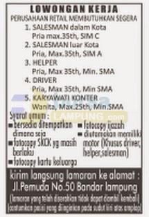 Lowongan Sopir, Sales, Helper di Lampung
