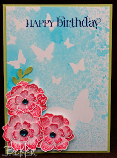 Bright Misted Birthday Card by Bekka featuring the Vintage Vogue Stamp Set.  www.feeling-crafty.co.uk