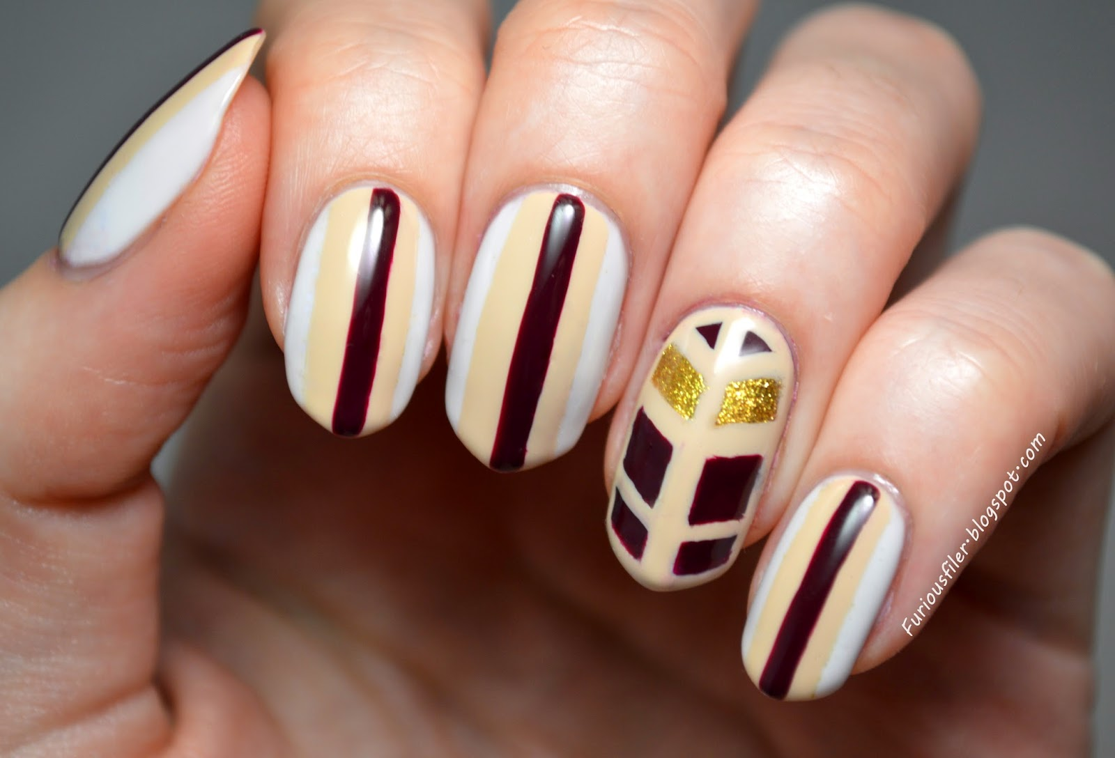 art deco stripes cream gold nail art