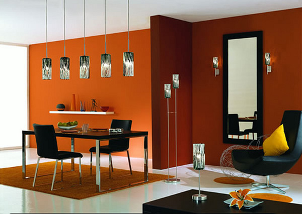 modern house modern dining room in orange color. Black Bedroom Furniture Sets. Home Design Ideas