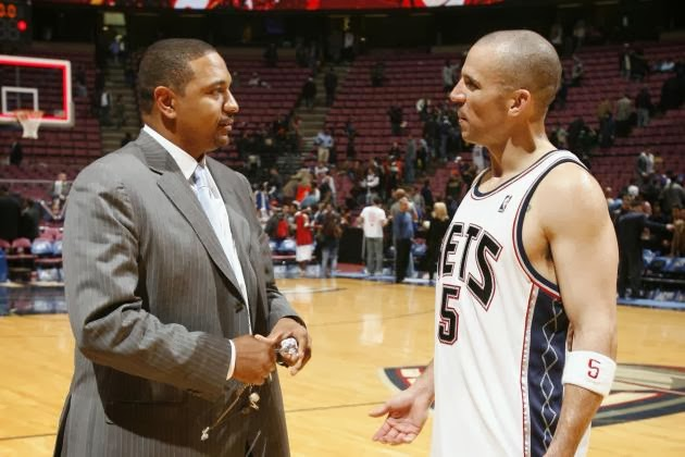 Mark Jackson and Jason Kidd converse when Jackson covered the Nets for YES