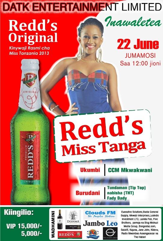 REDD'S MISS TANGA 2013 KUFANYIKA JUNI 22,MKWAKWANI