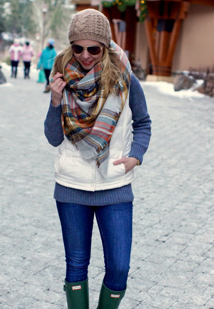 Plaid Blanket Scarf and Puffer Vest