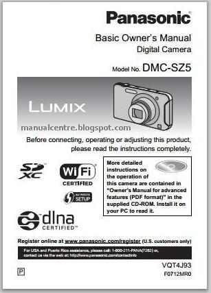Panasonic Lumix-SZ5 Manual Cover