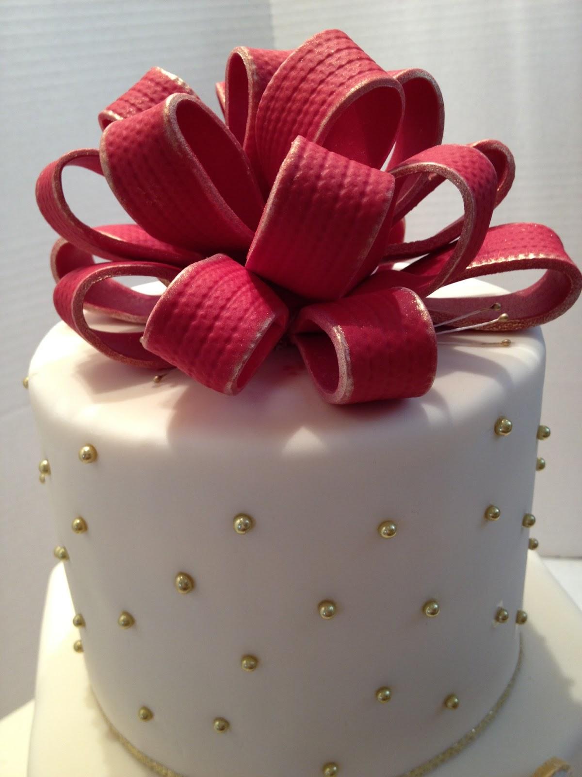 MaryMel Cakes Red & Gold wedding cake