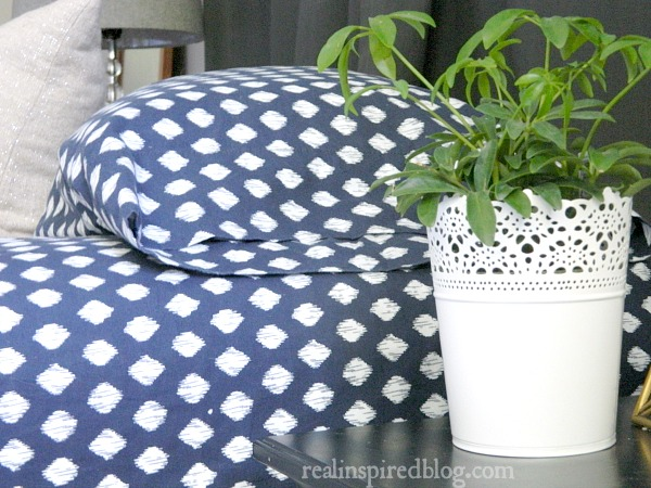 What I'm Loving Right Now: Ikat. Incorporate this trend into your home with navy blue ikat polka dot sheets!