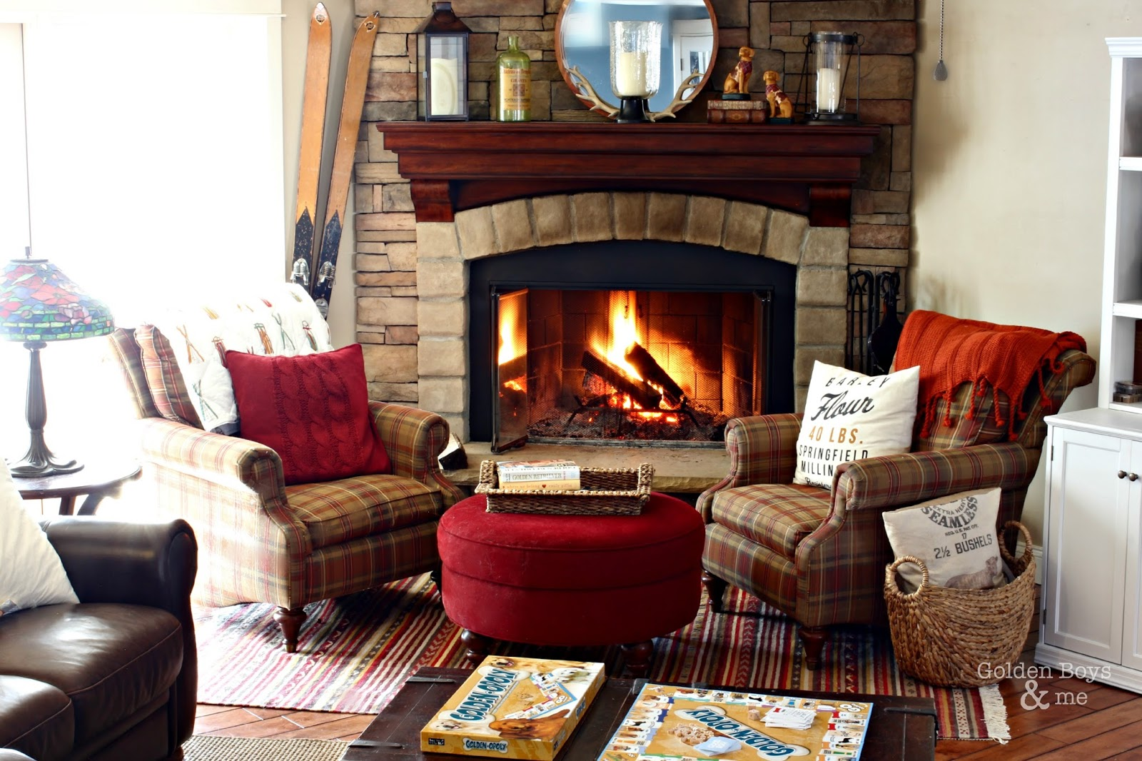 Corner stone fireplace in winter family room-www.goldenboysandme.com