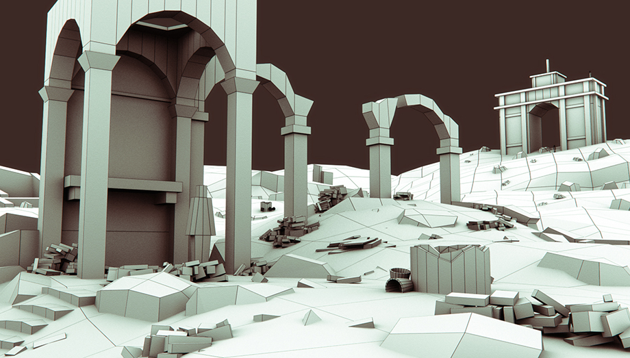 Wireframe 3D blockout ruins scene
