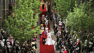 Royal Couple walking down the aisle