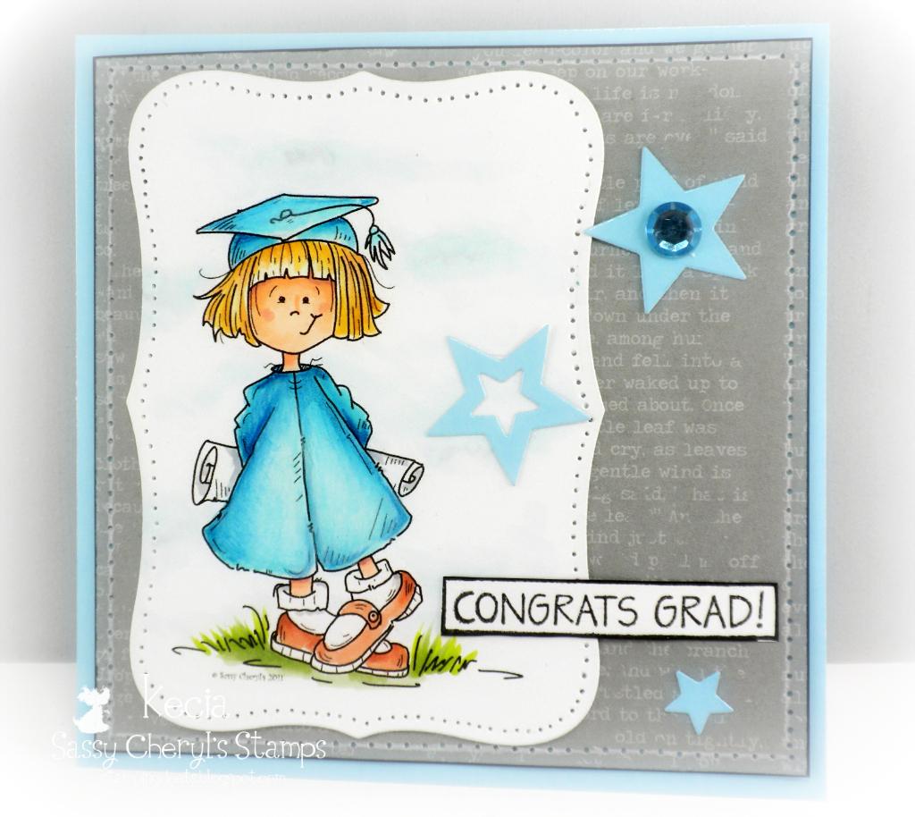 Sassy Cheryl's, graduation, Kecia Waters, Copic markers