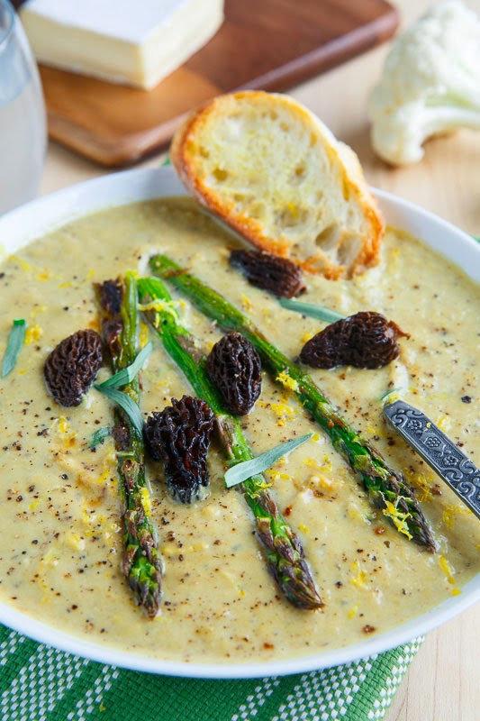 Creamy Roasted Asparagus and Brie Cauliflower Soup on Closet Cooking