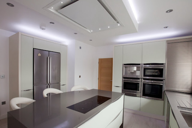 Lisa Melvin Design, KIOO glass kitchen , led lights in kitchen , kitchen design Rugby
