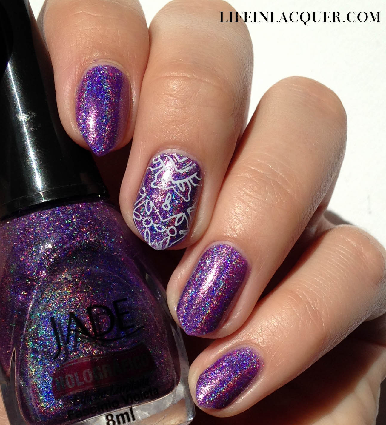 Life in Lacquer: Jade Holografico Stamping Nail Art